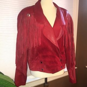 Red Leather suede tassel jacket